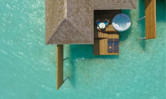 Aerial view of an Aqua villa with jacuzzi