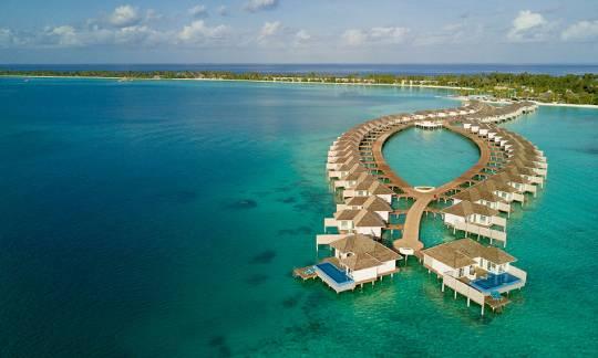 Aerial view of Honeymoon Aqua Pool Villa at Kandima Maldives
