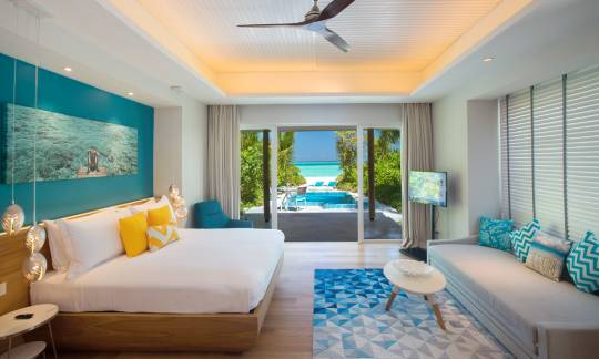 Bedroom view of Beach pool villa with jacuzzi at Kandima