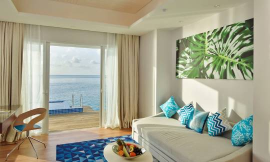 Bedroom view of Honeymoon Aqua Pool Villa at Kandima Maldives