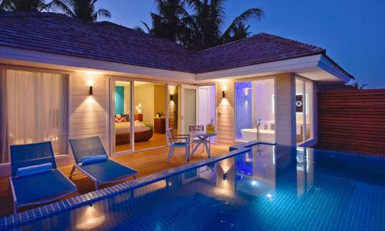 Ocean Pool Villa Evening view at Kandima Maldives